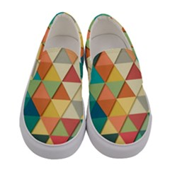 Background Geometric Triangle Women s Canvas Slip Ons