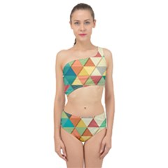 Background Geometric Triangle Spliced Up Two Piece Swimsuit