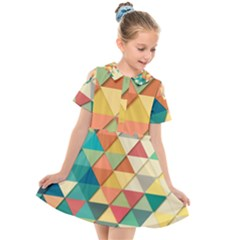Background Geometric Triangle Kids  Short Sleeve Shirt Dress