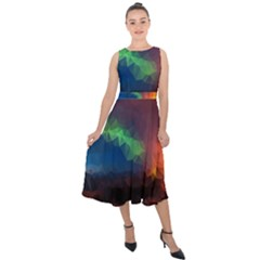 Abstract Texture Background Midi Tie Back Chiffon Dress