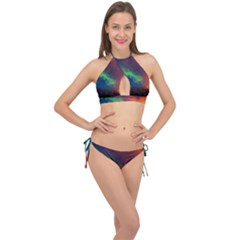 Abstract Texture Background Cross Front Halter Bikini Set