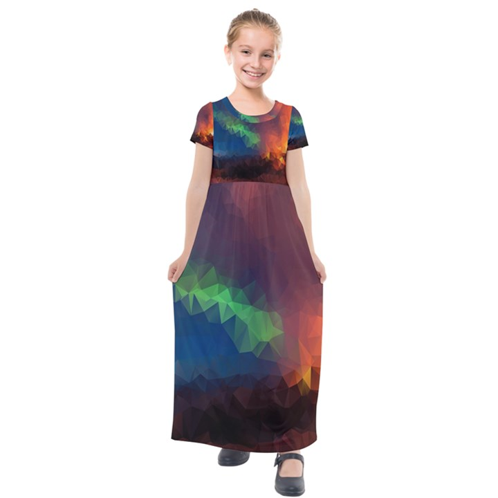 Abstract Texture Background Kids  Short Sleeve Maxi Dress