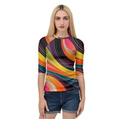 Abstract Colorful Background Wavy Quarter Sleeve Raglan Tee