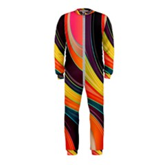 Abstract Colorful Background Wavy Onepiece Jumpsuit (kids)