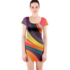 Abstract Colorful Background Wavy Short Sleeve Bodycon Dress by Simbadda