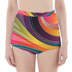 Abstract Colorful Background Wavy High Waisted Bikini Bottoms