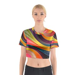 Abstract Colorful Background Wavy Cotton Crop Top