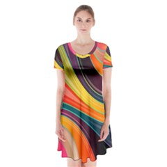 Abstract Colorful Background Wavy Short Sleeve V Neck Flare Dress