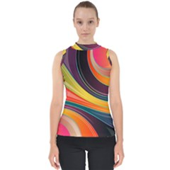 Abstract Colorful Background Wavy Mock Neck Shell Top
