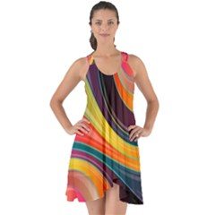 Abstract Colorful Background Wavy Show Some Back Chiffon Dress