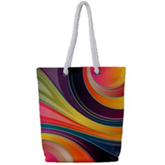 Abstract Colorful Background Wavy Full Print Rope Handle Tote (small)