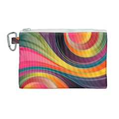 Abstract Colorful Background Wavy Canvas Cosmetic Bag (large) by Simbadda