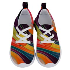 Abstract Colorful Background Wavy Running Shoes