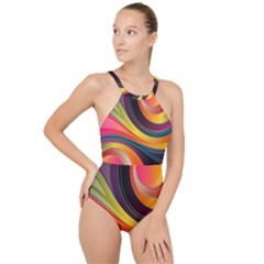 Abstract Colorful Background Wavy High Neck One Piece Swimsuit