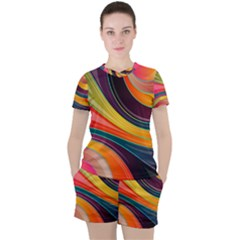 Abstract Colorful Background Wavy Women s Tee And Shorts Set