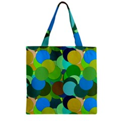 Green Aqua Teal Abstract Circles Zipper Grocery Tote Bag