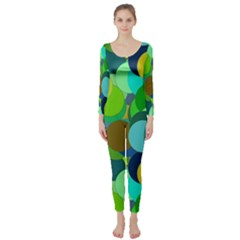 Green Aqua Teal Abstract Circles Long Sleeve Catsuit