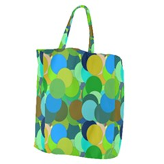 Green Aqua Teal Abstract Circles Giant Grocery Tote