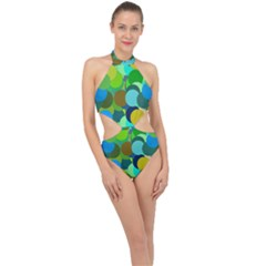 Green Aqua Teal Abstract Circles Halter Side Cut Swimsuit by Simbadda