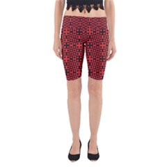 Abstract Background Red Black Yoga Cropped Leggings