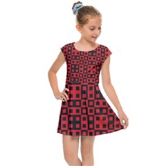 Abstract Background Red Black Kids Cap Sleeve Dress by Simbadda