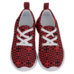 Abstract Background Red Black Running Shoes