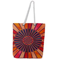 Color Background Structure Lines Full Print Rope Handle Tote (large) by Simbadda