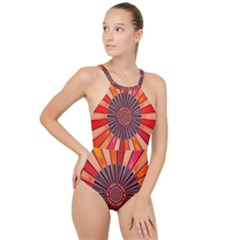 Color Background Structure Lines High Neck One Piece Swimsuit