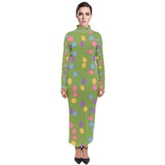 Balloon Grass Party Green Purple Turtleneck Maxi Dress