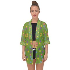 Balloon Grass Party Green Purple Open Front Chiffon Kimono by Simbadda