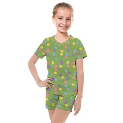 Balloon Grass Party Green Purple Kids  Mesh Tee And Shorts Set