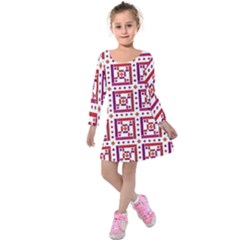 Background Abstract Square Kids  Long Sleeve Velvet Dress