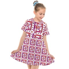 Background Abstract Square Kids  Short Sleeve Shirt Dress