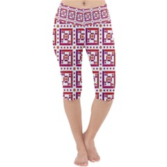 Background Abstract Square Lightweight Velour Cropped Yoga Leggings