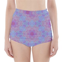 Pattern Pink Hexagon Flower Design High Waisted Bikini Bottoms
