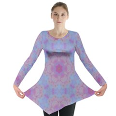 Pattern Pink Hexagon Flower Design Long Sleeve Tunic