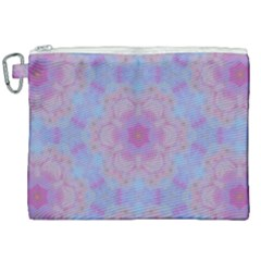Pattern Pink Hexagon Flower Design Canvas Cosmetic Bag (xxl) by Simbadda
