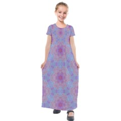Pattern Pink Hexagon Flower Design Kids  Short Sleeve Maxi Dress by Simbadda