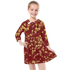 Background Design Leaves Pattern Kids  Quarter Sleeve Shirt Dress by Simbadda