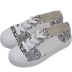 Grolier Antique Scroll Fruit Kids  Low Top Canvas Sneakers by Simbadda