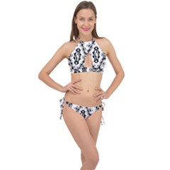 Holbein Floriated Antique Scroll Cross Front Halter Bikini Set