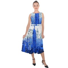 Skyline Skyscraper Abstract Points Midi Tie Back Chiffon Dress