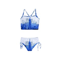 Skyline Skyscraper Abstract Points Girls  Tankini Swimsuit