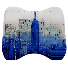 Skyline Skyscraper Abstract Points Velour Head Support Cushion
