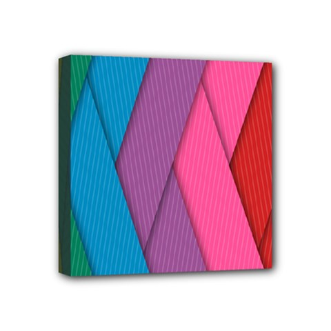 Abstract Background Colorful Strips Mini Canvas 4  X 4  (stretched) by Simbadda