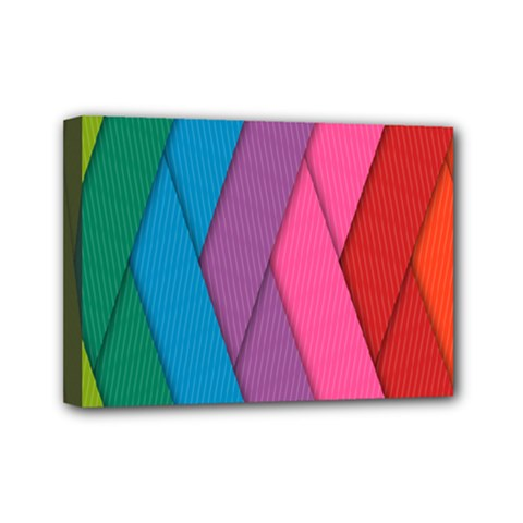 Abstract Background Colorful Strips Mini Canvas 7  X 5  (stretched) by Simbadda