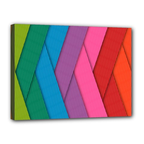 Abstract Background Colorful Strips Canvas 16  X 12  (stretched) by Simbadda