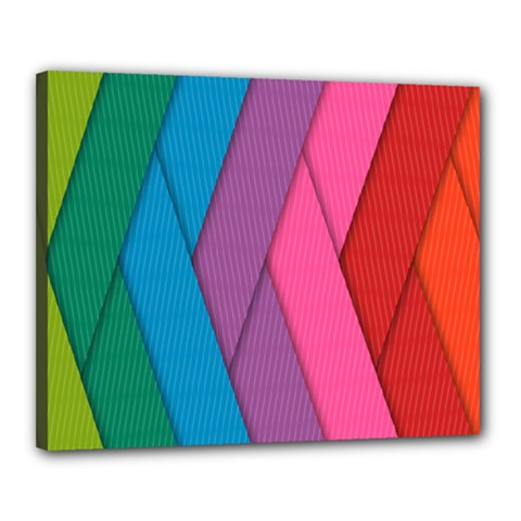 Abstract Background Colorful Strips Canvas 20  X 16  (stretched)