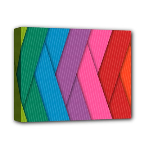 Abstract Background Colorful Strips Deluxe Canvas 14  X 11  (stretched)
