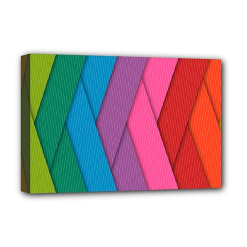 Abstract Background Colorful Strips Deluxe Canvas 18  X 12  (stretched) by Simbadda